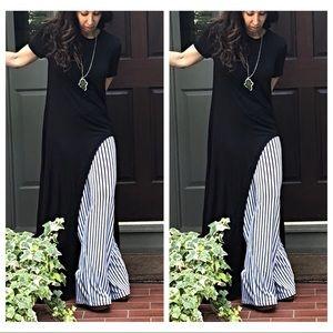 Pants - White with black striped wide leg pants